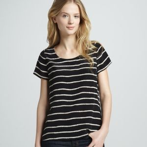 JOIE Black rope print striped blouse